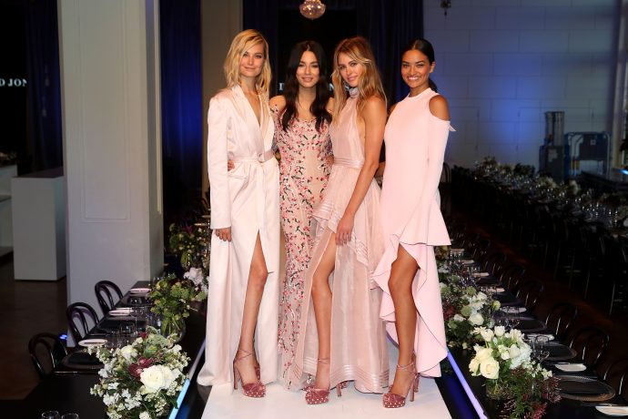 SYDNEY, AUSTRALIA - AUGUST 09:  (L-R) Models Bridget Malcolm, Jessica Gomes, Jesinta Franklin and Shanina Shaik pose following rehearsal ahead of the David Jones Spring Summer 2017 Collections Launch at David Jones Elizabeth Street Store on August 9, 2017 in Sydney, Australia.  (Photo by Mark Metcalfe/Getty Images for David Jones) *** Local Caption *** Bridget Malcolm; Jessica Gomes; Jesinta Franklin; Shanina Shaik