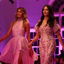 SYDNEY, AUSTRALIA - AUGUST 09:  Jesinta Franklin in Aje and Jessica Gomes in Rachel Gilbert walks the runway during the David Jones Spring Summer 2017 Collections Launch at David Jones Elizabeth Street Store on August 9, 2017 in Sydney, Australia.  (Photo by Mark Nolan/Getty Images for David Jones) *** Local Caption *** Jesinta Frankli; Jessica Gomes