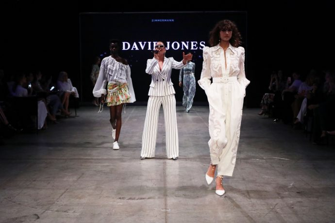 SYDNEY, AUSTRALIA - FEBRUARY 07:  A model showcases designs by Zimmerman during the David Jones Autumn Winter 2018 Collections Launch at Australian Technology Park on February 7, 2018 in Sydney, Australia.  (Photo by Mark Nolan/Getty Images for David Jones)