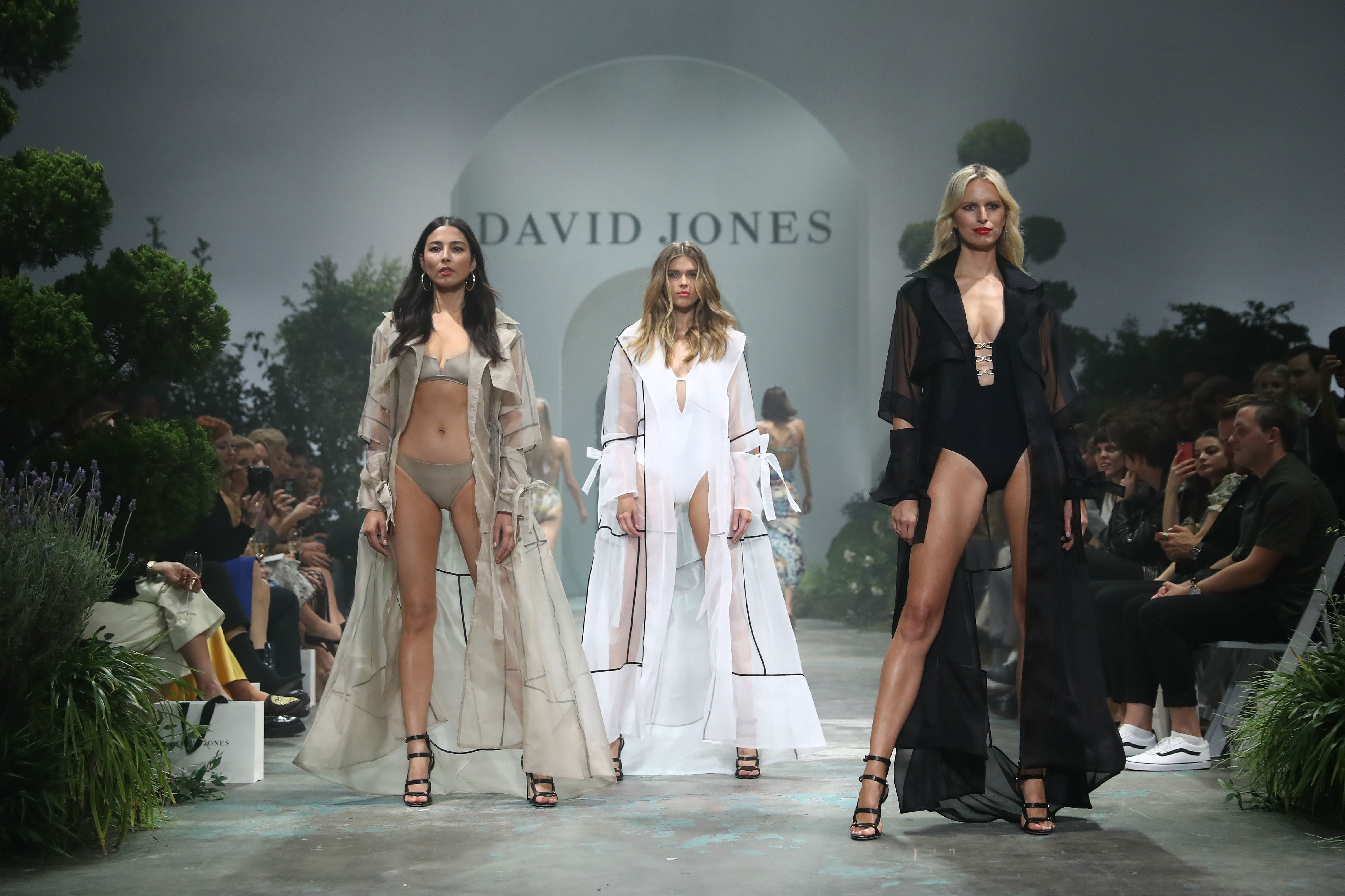 SYDNEY, AUSTRALIA - AUGUST 08:  Jessica Gomes wears Jessica Gomes for Jets, Victoria Lee and Karolina Kurkova showcase designs by Jets during the David Jones Spring Summer 18 Collections Launch at Fox Studios on August 8, 2018 in Sydney, Australia.  (Photo by Mark Metcalfe/Getty Images for David Jones) *** Local Caption *** Jessica Gomes; Victoria Lee; Karolina Kurkova