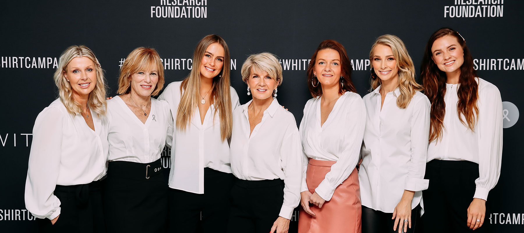 2019-White-Shirt-Ambassadors-Leane-Flynn-Lucinda-Nolan-CEO-OCRF-Steph-Claire-Smith-Hon-Julie-Bishop-MP-Maree-Bilandzic-OCRF-Researcher-Anna-Heinrich-Laura-Henshaw