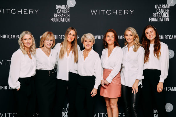 2019 White Shirt Ambassadors Leane Flynn, Lucinda Nolan (CEO OCRF), Steph Claire Smith, Hon Julie Bishop MP, Maree Bilandzic (OCRF Researcher), Anna Heinrich, Laura Henshaw
