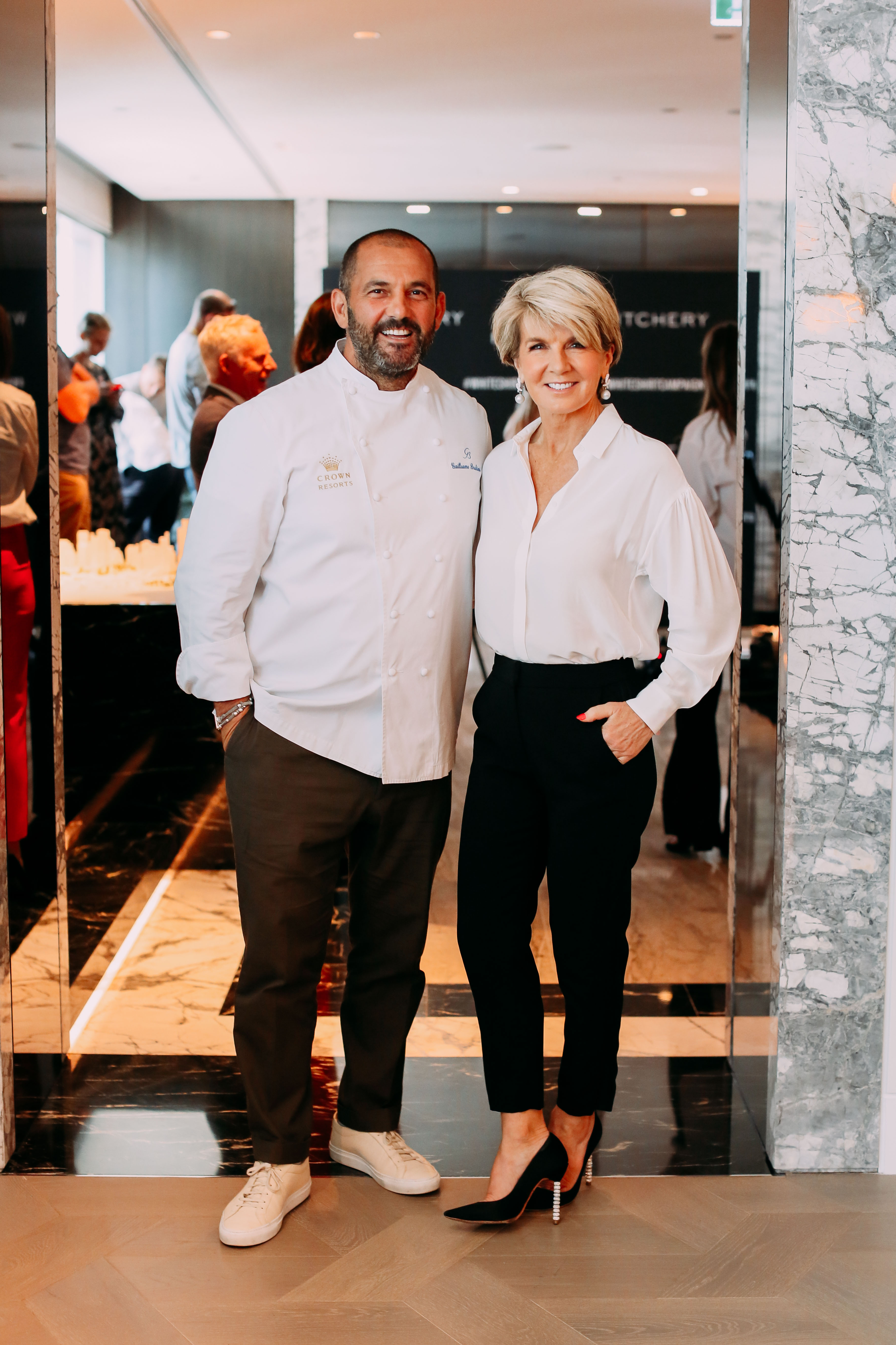 Guillaume Brahimi and 2019 White Shirt Ambassador The Hon Julie Bishop MP